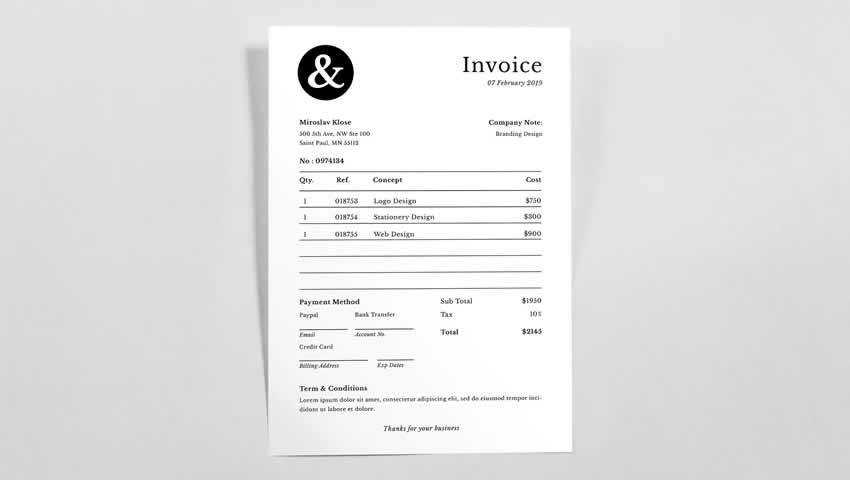 Minimal Invoice Illustrator AI InDesign INDD