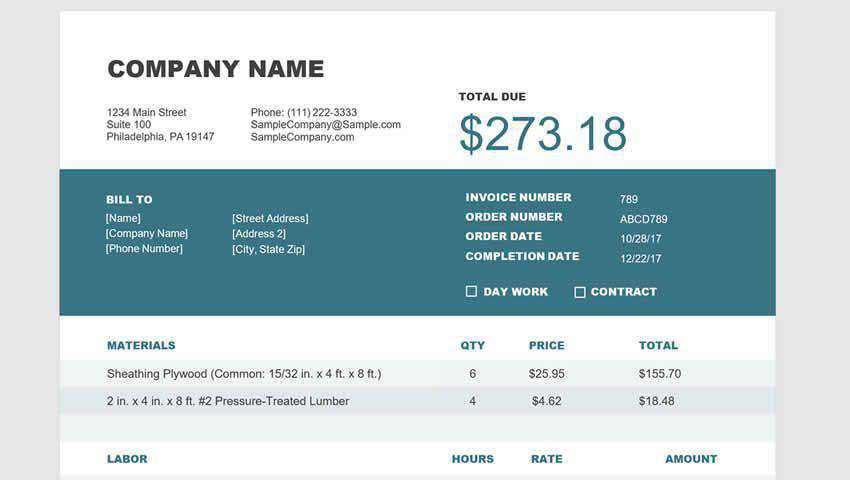 Free Invoice Templates for Contractors word excel