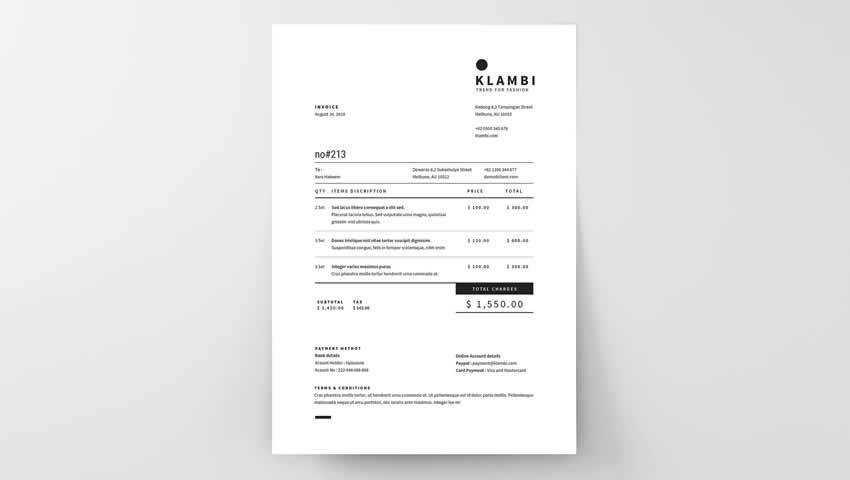 Modern Simple Unique Invoice INDD