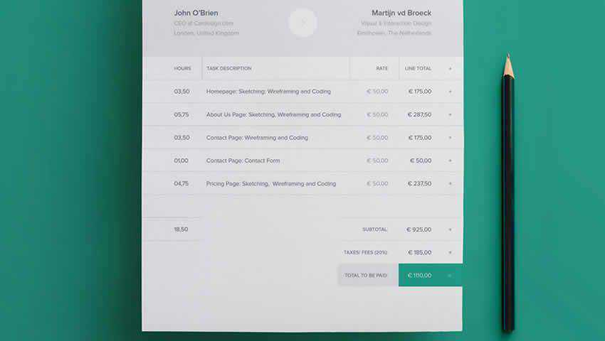 Modern Invoice Template INDD InDesign