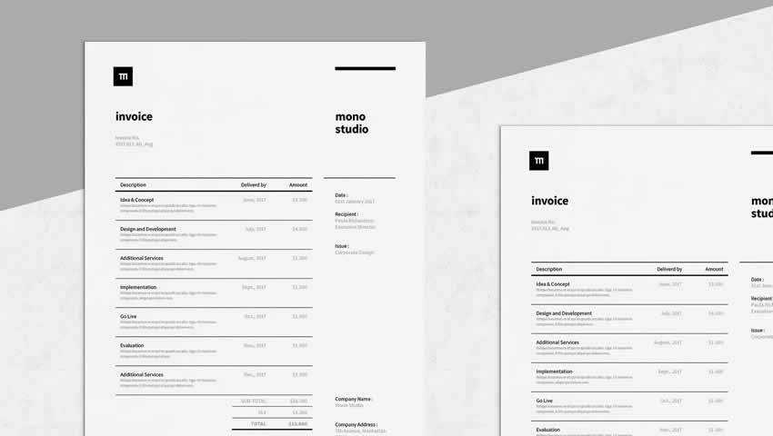 Invoice Template AI EPS INDD PSD