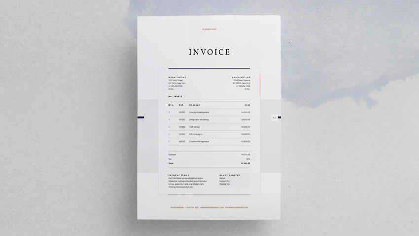 The Design Invoice InDesign INDD