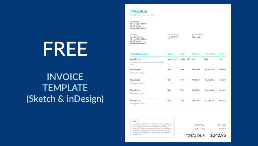 Free Invoice Template Sketch INDD InDesign