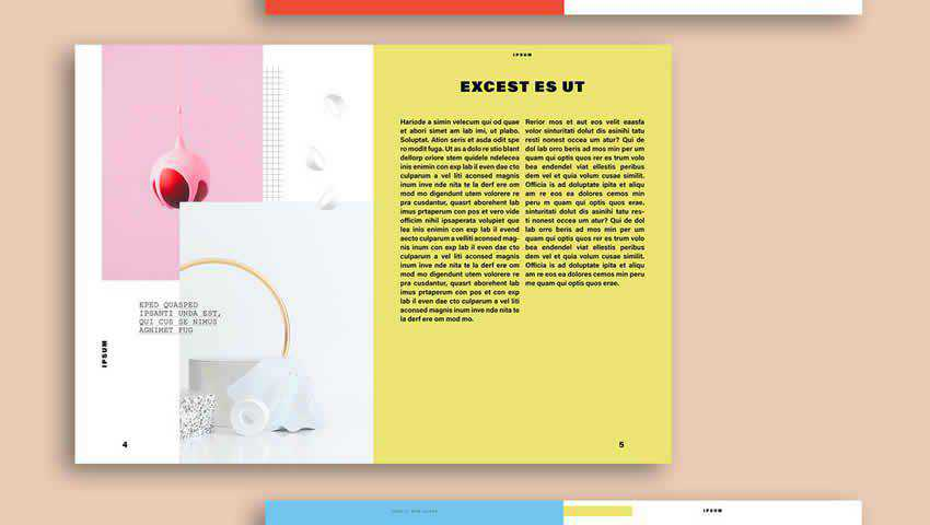 Memphis Design-Inspired Magazine Layout for Indesign