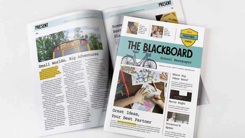 The Blackboard School Newspaper Template for InDesign