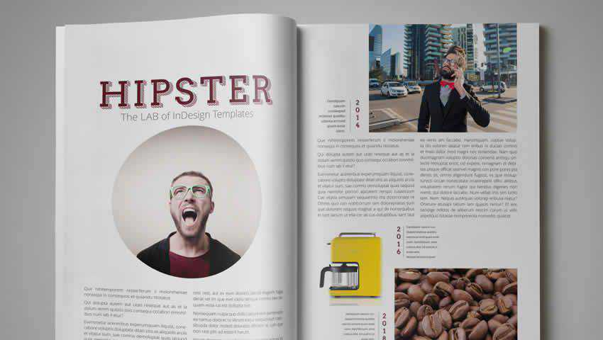 Hipster Magazine Template for InDesign
