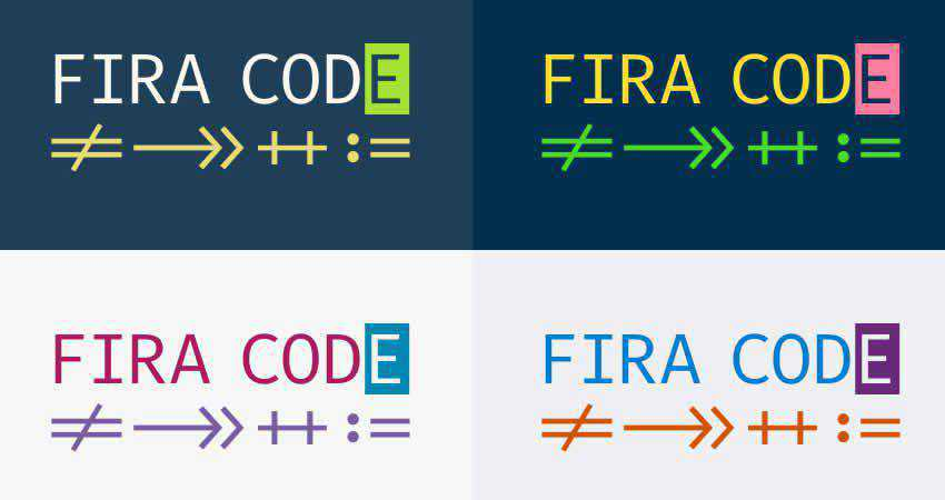 FiraCode mono monospaced free font family typeface code