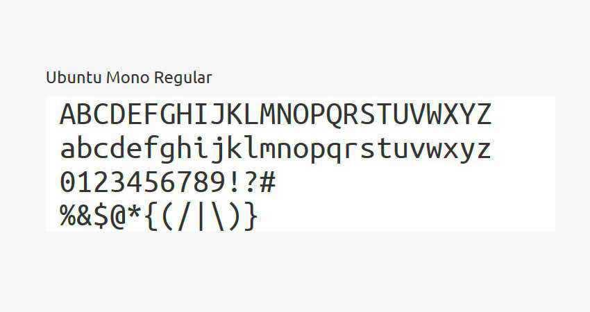 Ubuntu mono monospaced free font family typeface code