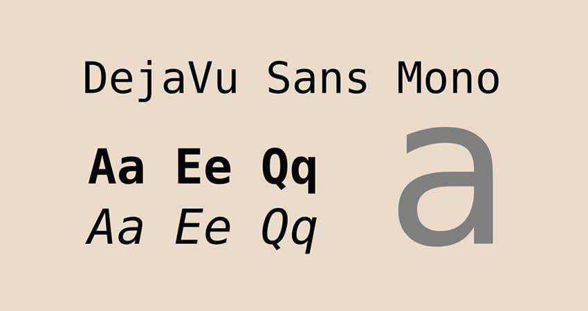 DejaVu mono monospaced free font family typeface code