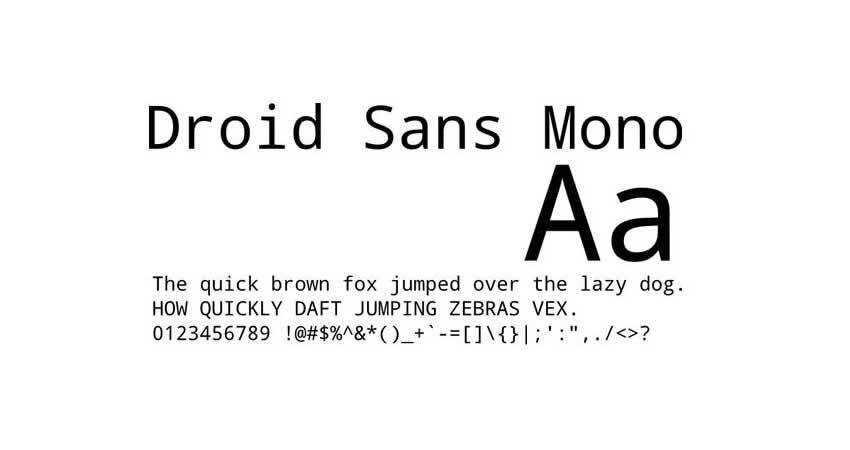 Droid mono monospaced free font family typeface code