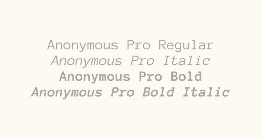 Anonymous Pro mono monospaced free font family typeface code