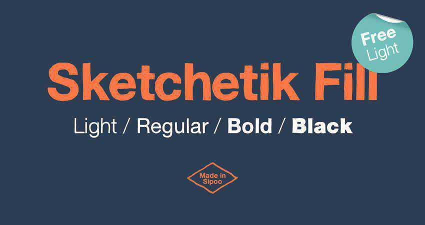 Sketchetik Fill Light sans serif free font family typeface