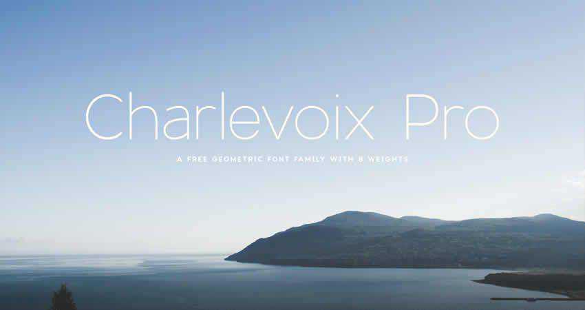 Charlevoix Geometric sans serif free font family typeface