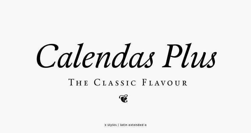 Calendas Plus serif free font family typeface