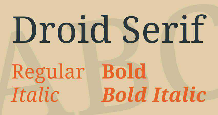 Droid serif free font family typeface
