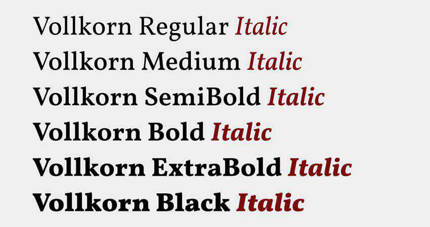 Vollkorn serif free font family typeface