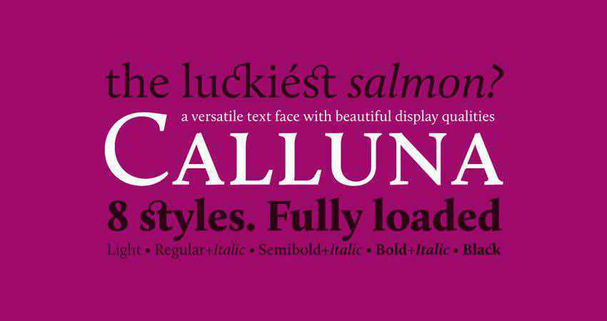 Calluna serif free font family typeface