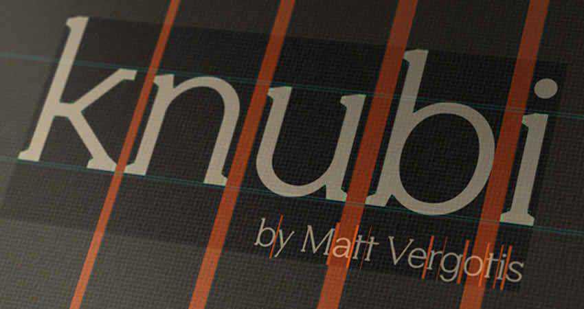 Knubi Regular serif free font family typeface