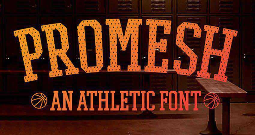 Promesh Athletic slab free font family typeface