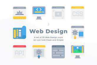 50 Web Design and Development icons - Flat
