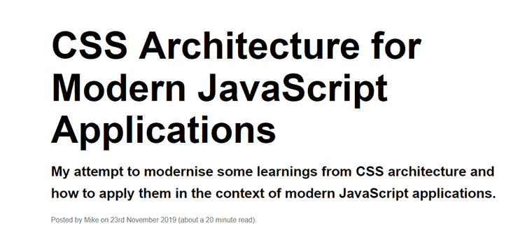 Example from CSS Architecture for Modern JavaScript Applications