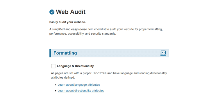 Example from Web Audit