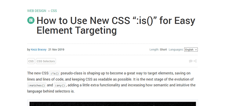 "Example from How to Use New CSS "":is()"" for Easy Element Targeting"