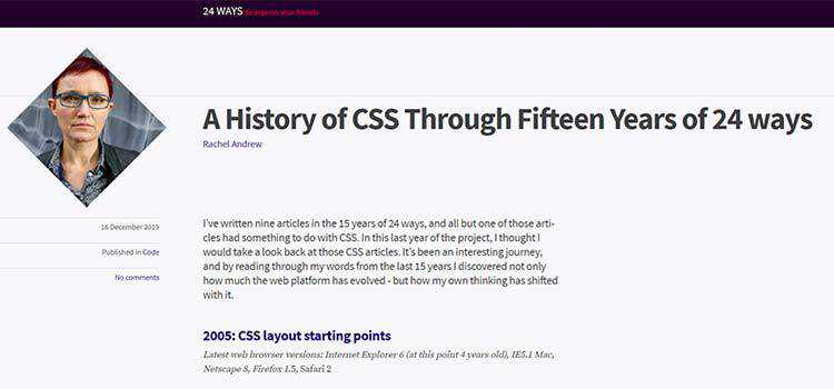 Example from A History of CSS Through Fifteen Years of 24 ways