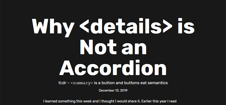 Example from Why <details> is Not an Accordion