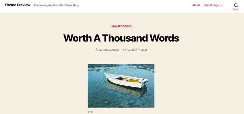 WordPress Twenty Twenty theme preview.