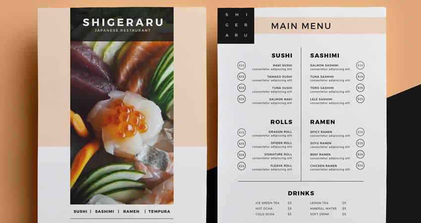 Restaurant Menu Template Photoshop PSD AI EPS