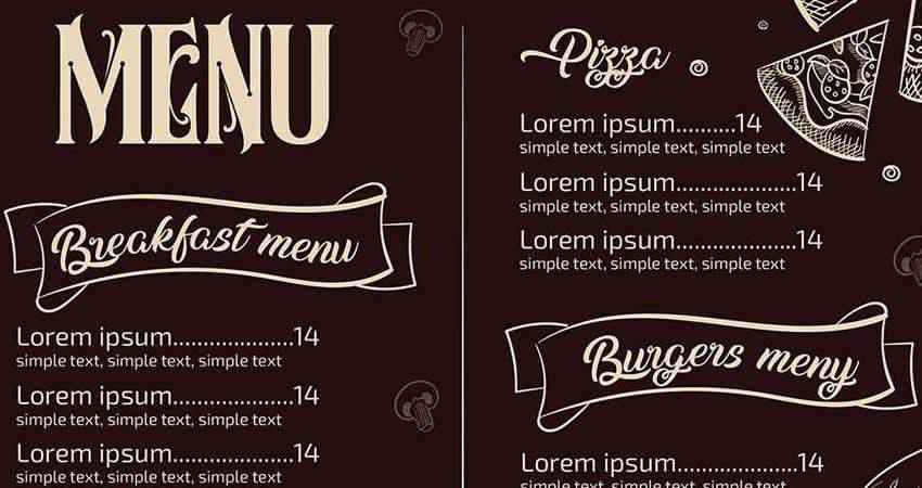 Illustrated Restaurant Menu Template Photoshop PSD