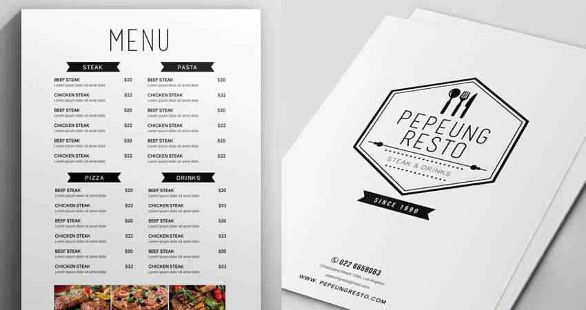 Minimalist Menu Template Photoshop PSD