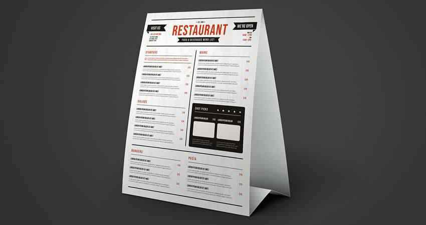 Restaurant Table Tent Menu Mockup Template Photoshop PSD