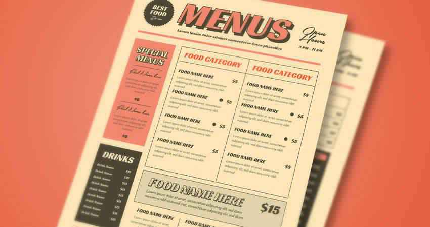 Retro Menu Templates Photoshop PSD AI
