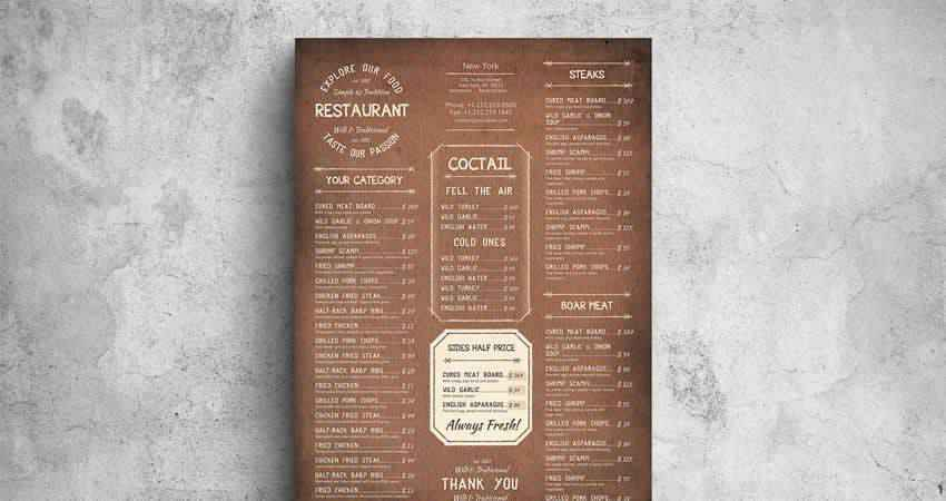Vintage Poster Food Menu Photoshop PSD