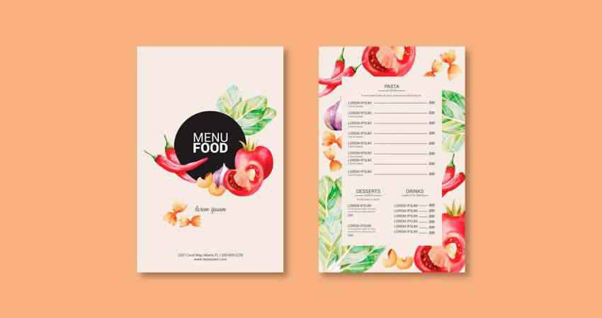 Hand-drawn Food Menu Vector Template Photoshop PSD