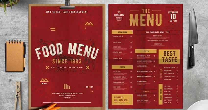 Rustic Food Menu Photoshop PSD AI