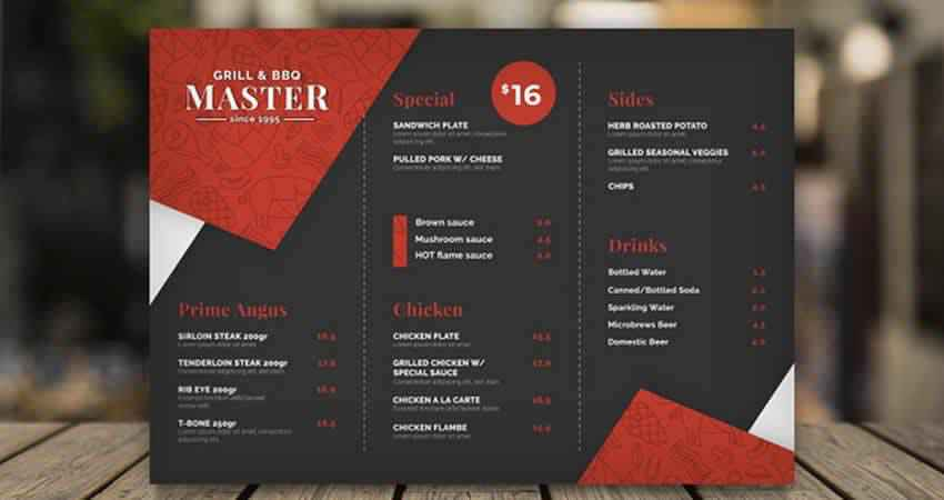 Grill Restaurant Menu Vector Template Illustrator EPS