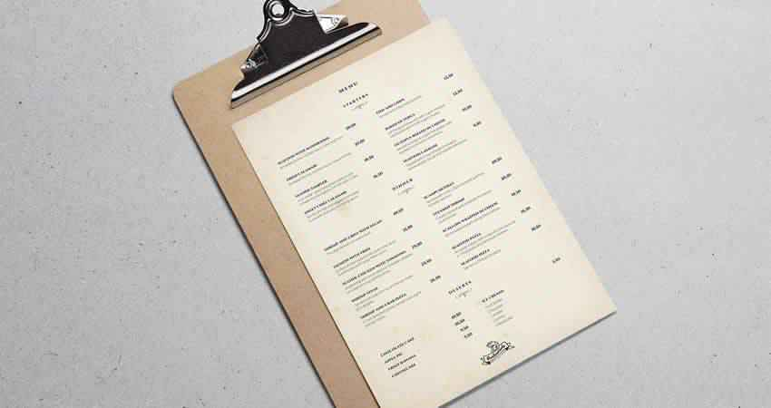 Minimal Restaurant Menu Template Photoshop PSD AI
