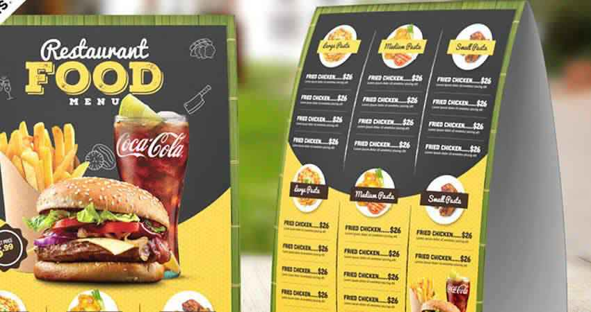 Restaurant Table Tent Food Menu Template Photoshop PSD