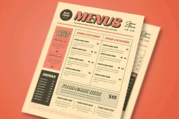 15 Free Restaurant & Coffee Shop Menu Templates