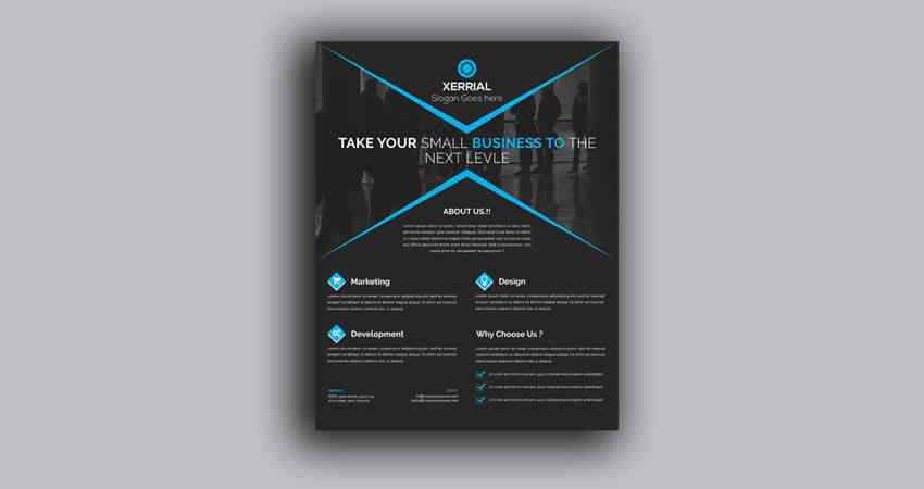 Dark Business Flyer Template Photoshop PSD