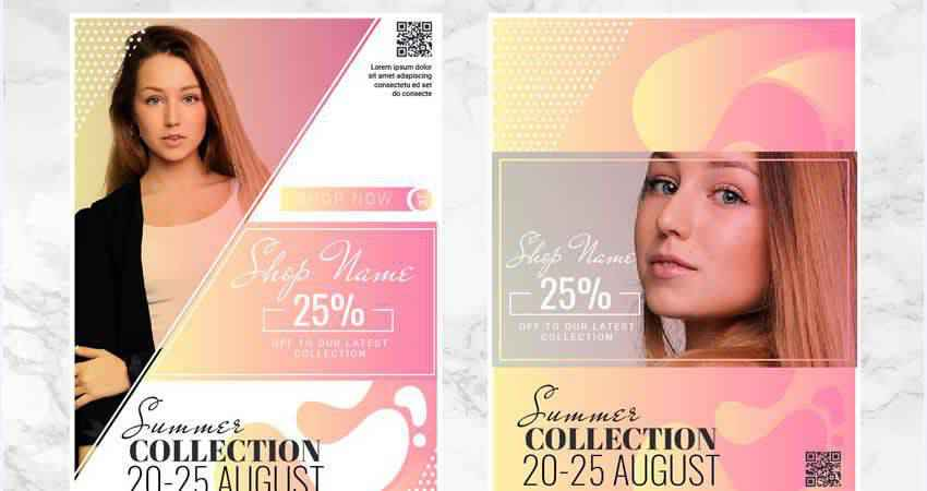 Fashion Collection Vector Flyer Template Illustrator EPS AI SVG