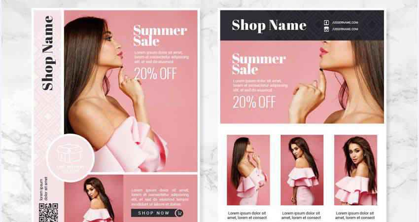 Vector Fashion Flyer Template Illustrator EPS