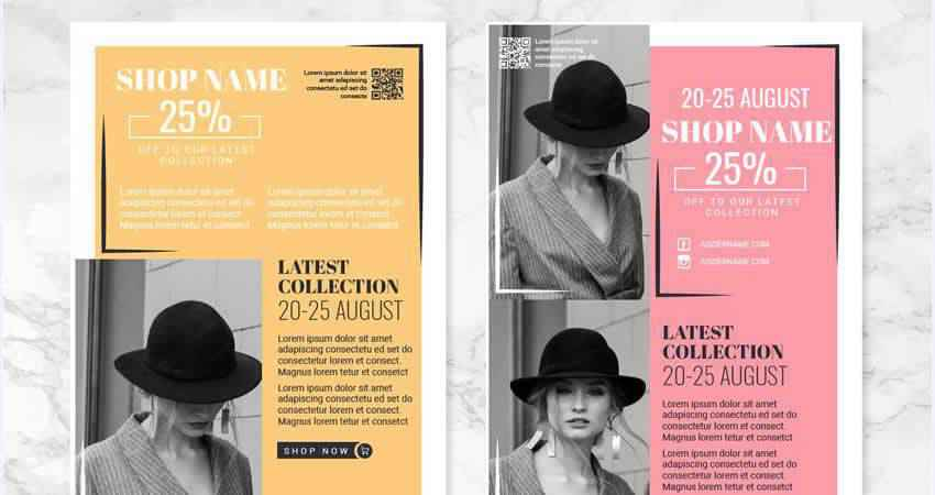 Vector Fashion Flyers Template Illustrator EPS AI SVG