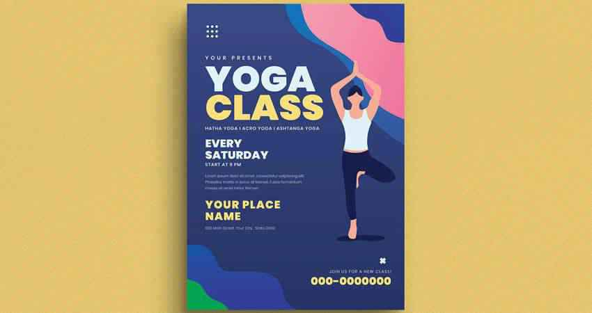 Illustrated Yoga Class Flyer Template Photoshop PSD AI