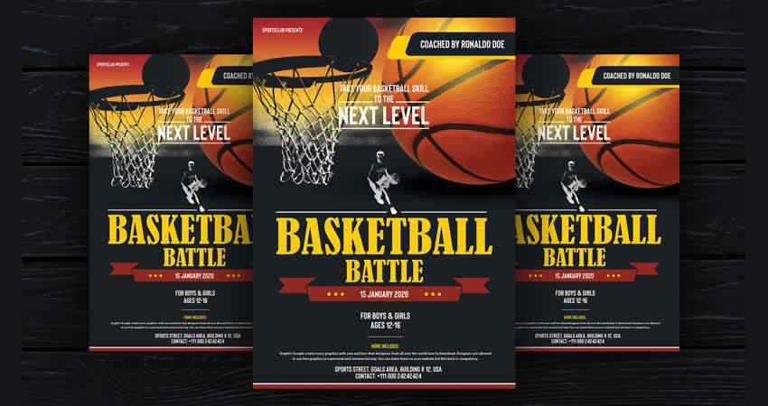 Basketball Flyer Design Template Photoshop PSD
