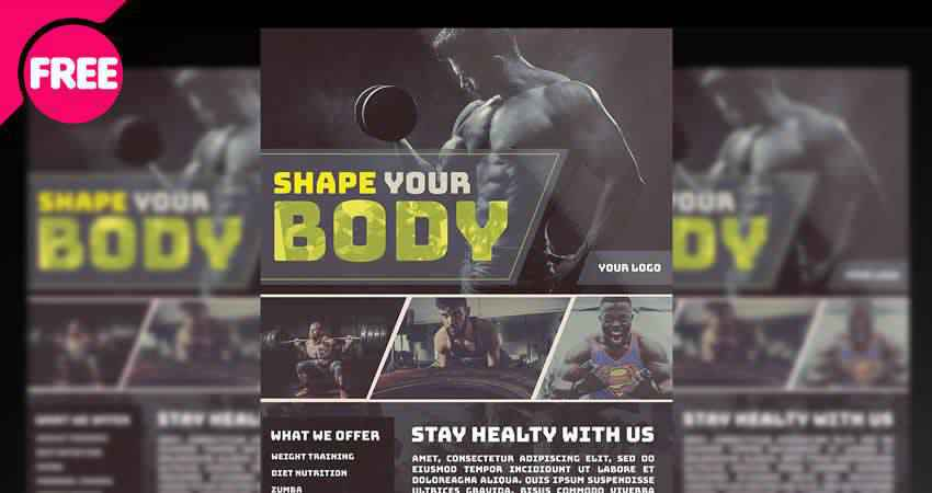 Gym Bodybuilding Flyer Template Photoshop PSD