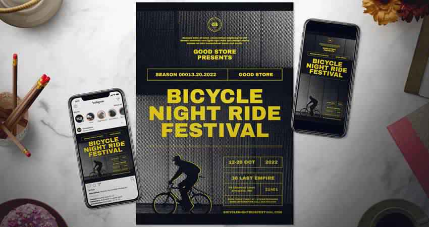 Bicycle Event Flyer Set Photoshop PSD